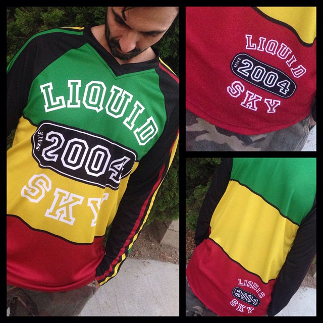 Rasta college LS jersey. $75.00 plus shipping. Send email to julio@liquidskysports.comwith size you like. Taking orders untill the end of month.#liquidskysports #liquidsky #customclothing #jerseys#mountainbike #snowsummit