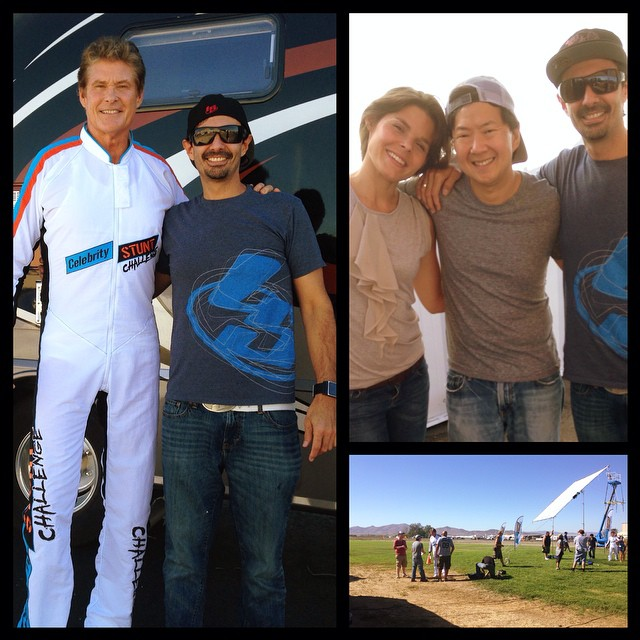 Awesome day on set with David Hasselhoff, Ken Jeong, Hulk Hogan, Mel B. And Christie Miro. Pretty cool to be part of this project #liquidsky #liquidskysports #davidhasselhoff #kenjeong #hulkhogan #melb #christiemiro #celebryity #stunt #challenege #mrchao michaelknight #baywatch #mitchbuchannan #skydiveperris #skydiving #awesome #actionsports #burbank #customclothing