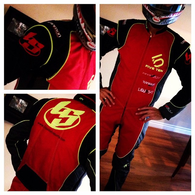Custom Karting suit. Full D-500 and D-1,000 material with inner mesh. As cool as they can get. Fully custom fitted and design. #liquidsky #liquidskysports #customclothing #karting #gokarts #cordura #fast #freeflysuits #racing